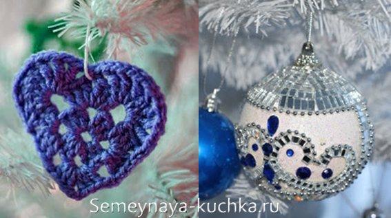 синие украшения на елку
