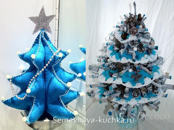 синие елки из ткани своими руками