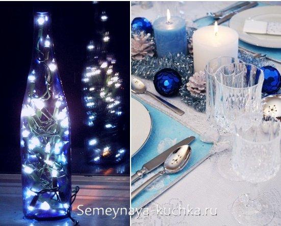 синяя новогодняя гирлянда в бутылке