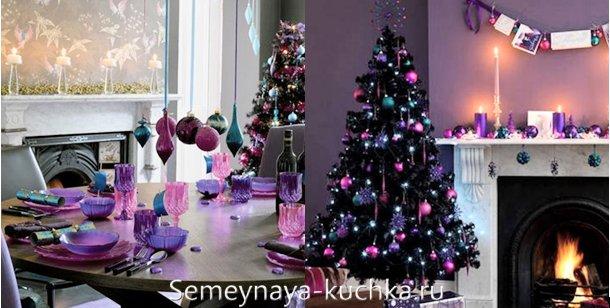 сине-лиловая елка на новый год