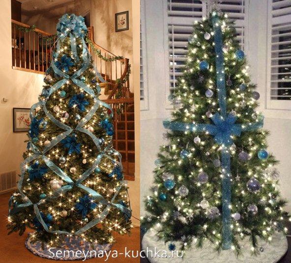 елка с синим бантом