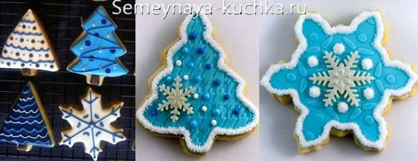печенье с голубой глазурью