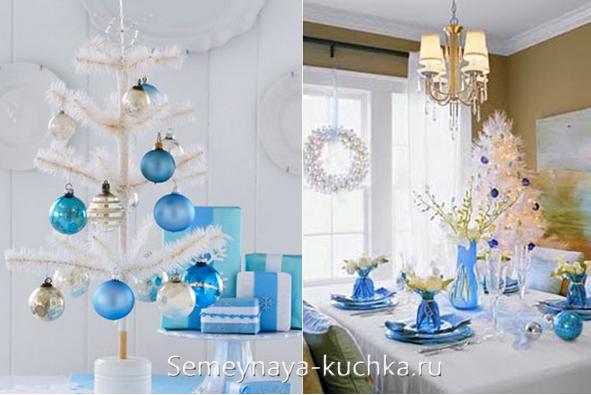 синие шары на белой елке