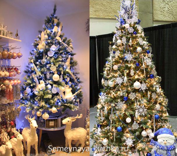 елка с золотыми и синими шарами