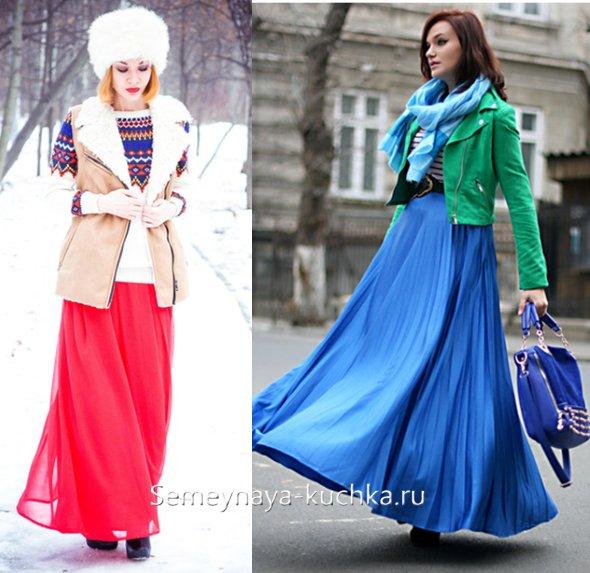 как носить длинные летние юбки осенью и зимой