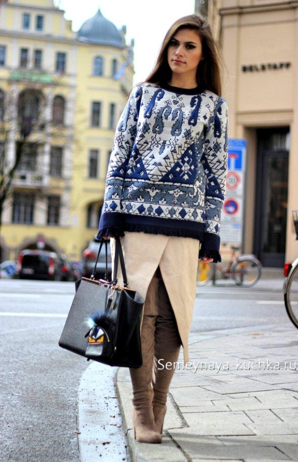 как носить осенью и зимой юбку с запахом