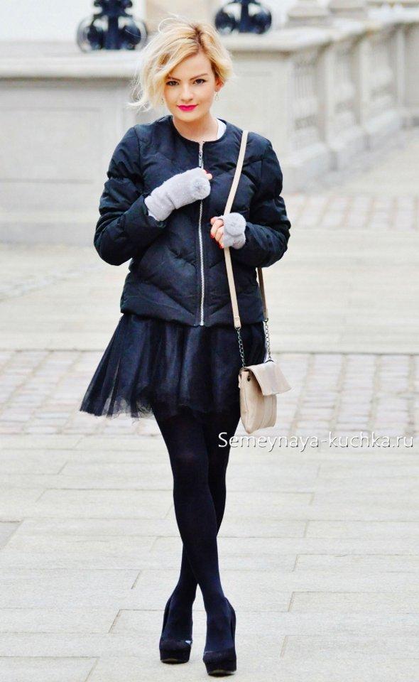 как носить пышные юбки из фатина зимой и осенью