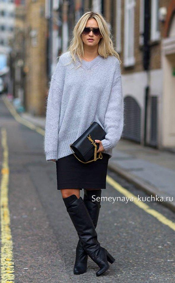 как носить осенью юбку-карандаш со свитером