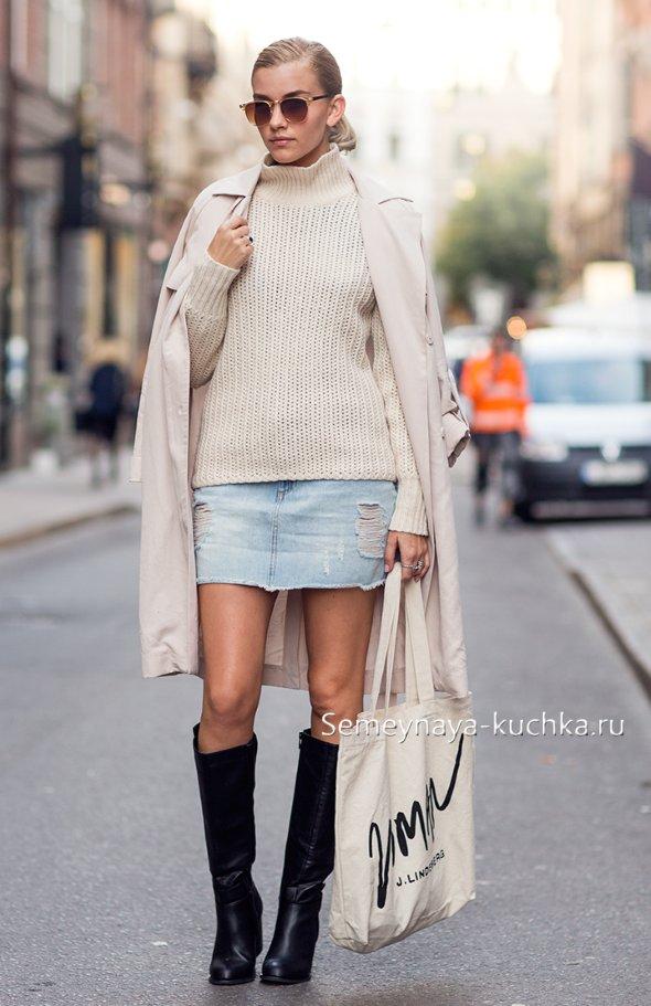 как носить джинсовую юбку осенью