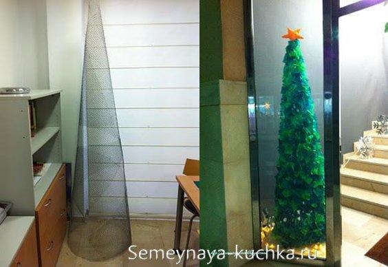елка из сетки-рабицы для украшения кабинета