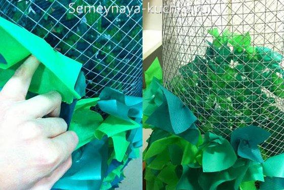 как сделать елку из сетки=рабицы
