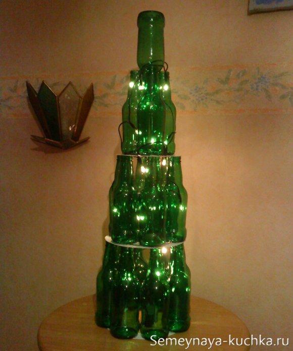 елка из бутылок для офиса