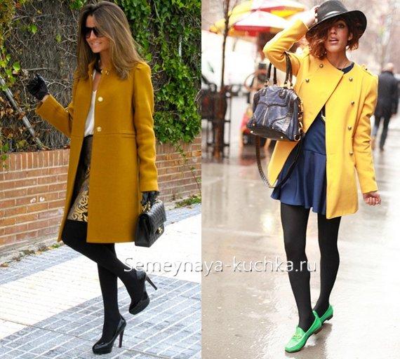 с чем носить юбку под желтое пальто