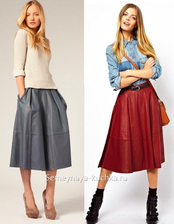 как носить кожаную юбку зимой