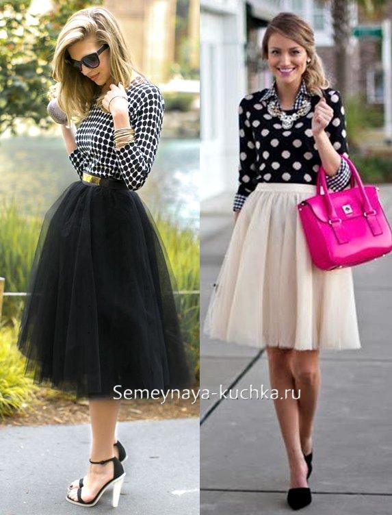 как носить пышную юбку осенью