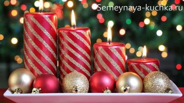 композиции со свечами на новый год