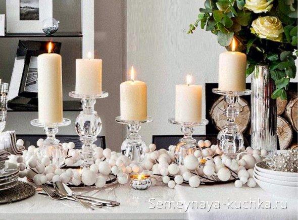 композиции со свечами и снегом из войлока