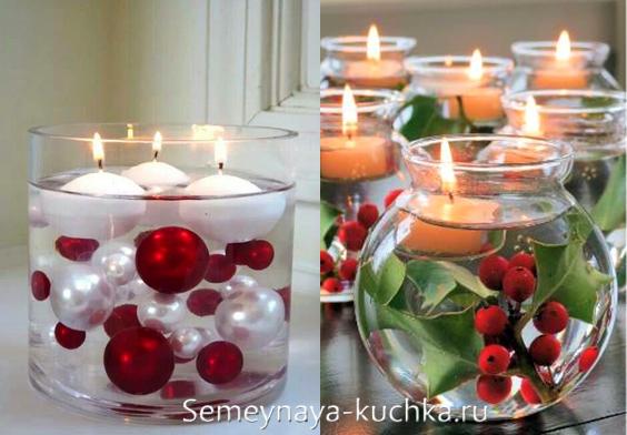новогодние композиции с плавающими свечами