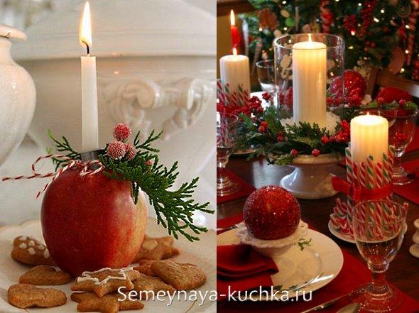 новогодние свечи в композициях