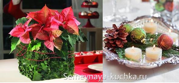 новогодняя флористическая композиция с цветами
