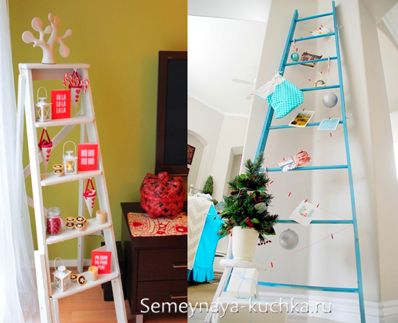новогоднее украшение из лестницы