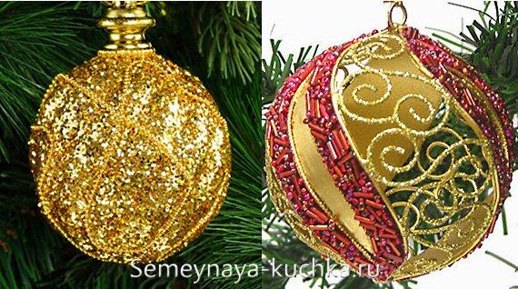 новогодний шар с блестками и стеклярусом