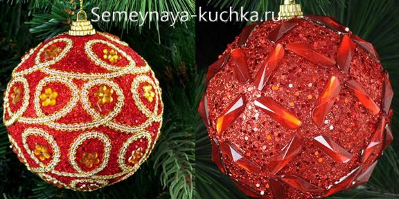 как сделать новогодний шар со стразами