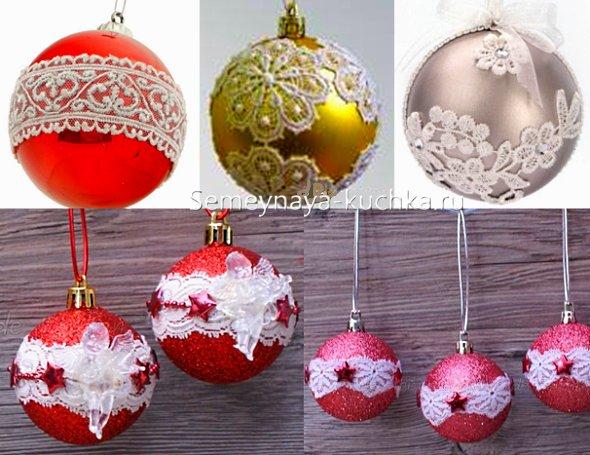 новогодние шары с кружевом делаем сами