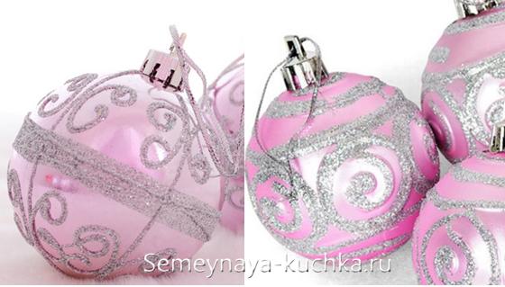 елочные шары украшенные блестками