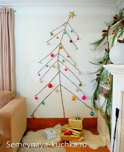 как сделать елку на стене