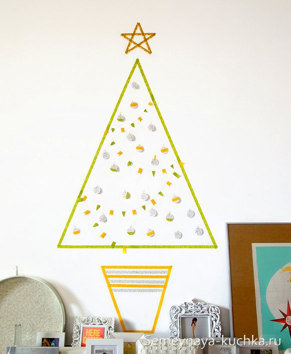 как украсить стену на новый год