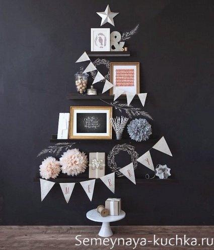 как сделать стильную елку на стене