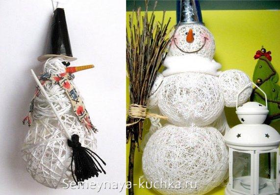 снеговик из шаров из ниток