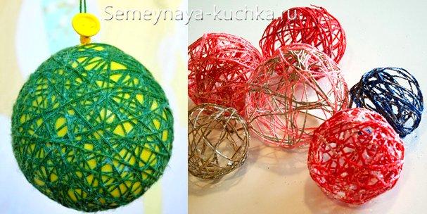 шары из ниток и воздушного шарика