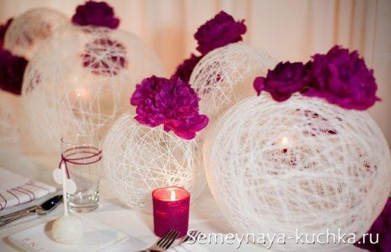 шары из ниток с цветами