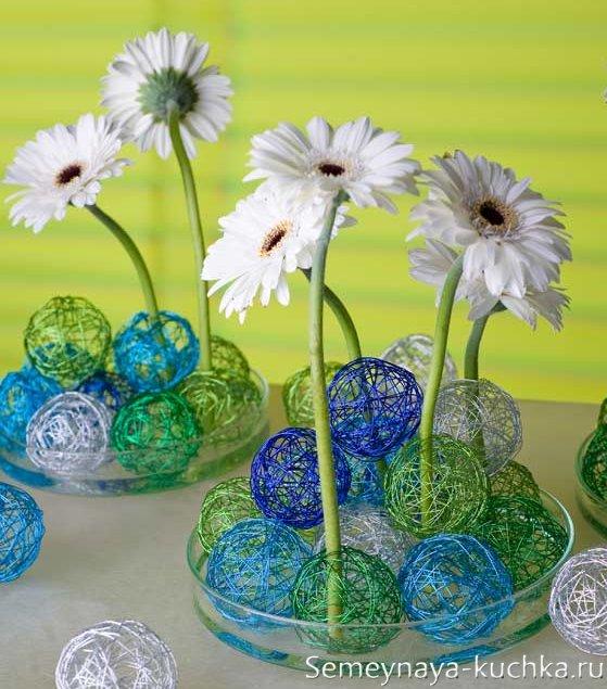 композиции из цветов и шаров из ниток и проволоки