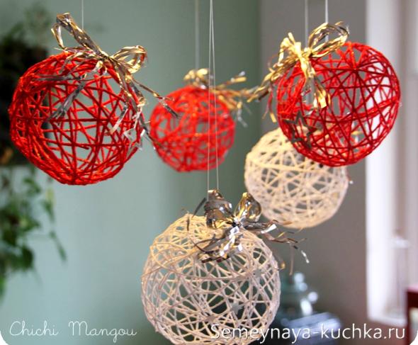шары из ниток для украшения нового года
