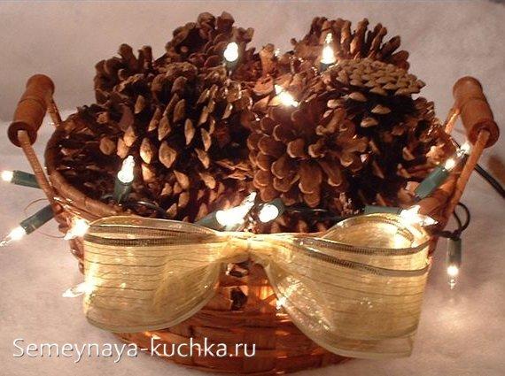 украшение новогоднее из шишек