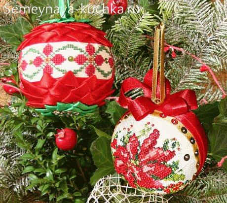 елочный шар из лент и вышивки крестом