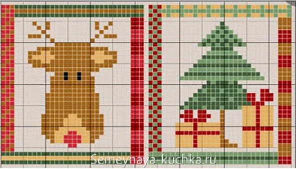 схема вышивки крестом оленя и елки