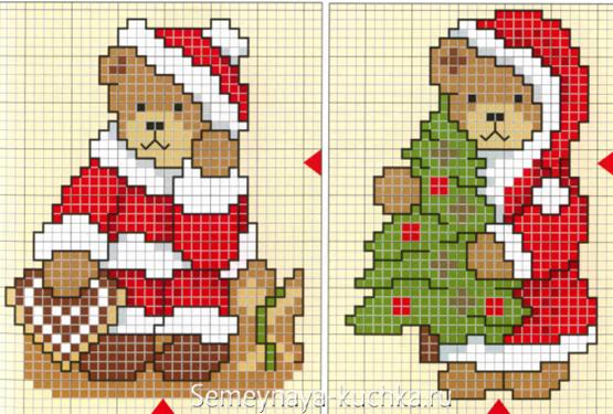 Новогодние рисунки мини схемы вязания