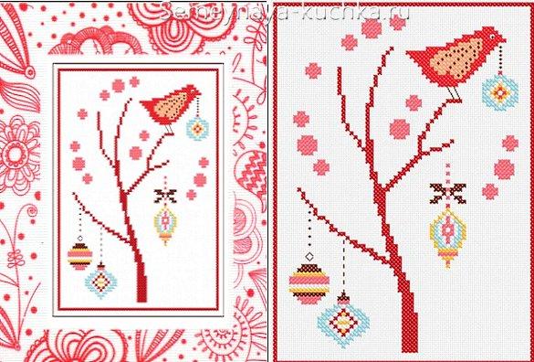 открытка новогодняя с вышивкой крестом