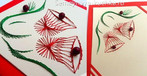 вышивка паутинка на открытке новогодней