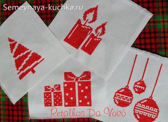 новогодняя вышивка на салфетках