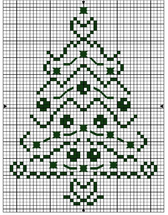 схема вышивки елка крестом