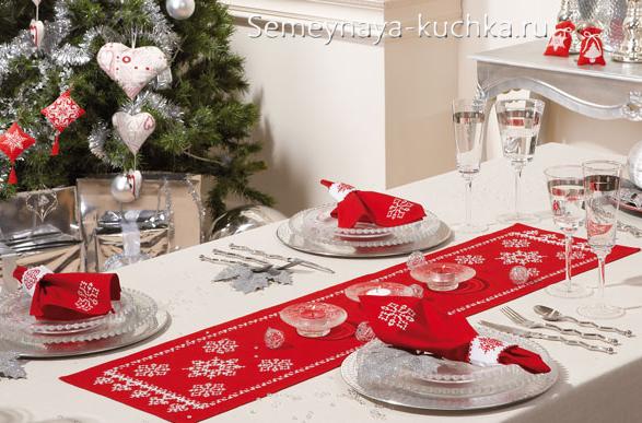 салфетка новогодняя вышивка снежинка