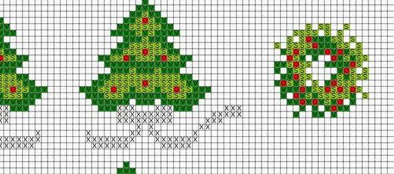 схема узор на новогоднюю скатерть