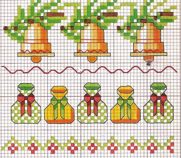 длинные схемы вышивки на новый год