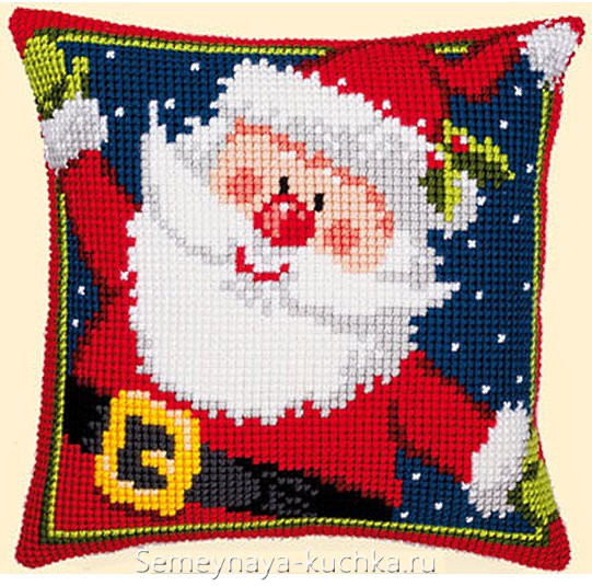 дед мороз вышивка на новогодней подушке