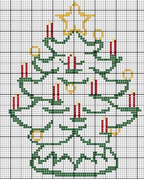 простая схема вышивки елки